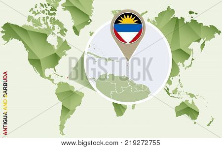 Infographic for Antigua and Barbuda detailed map of Antigua and Barbuda with flag. Vector Info graphic green map.