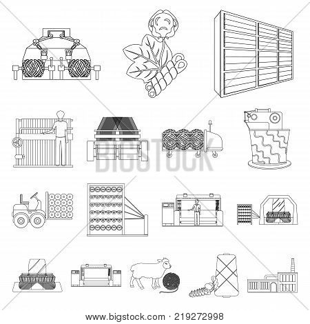 Textile industry outline icons in set collection for design.Textile equipment and fabrics vector symbol stock  illustration.