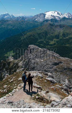Mountain Ridge Among Barren Mountains In Italian Dolomites Alps