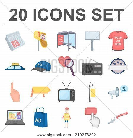 Production of advertising cartoon icons in set collection for design. Advertising equipment vector symbol stock  illustration.