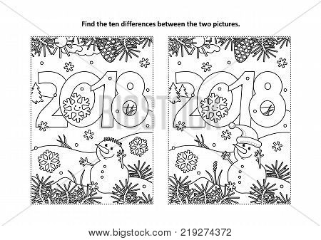 New Year or Christmas themed find the ten differences picture puzzle and coloring page with year 2018 heading and winter scene