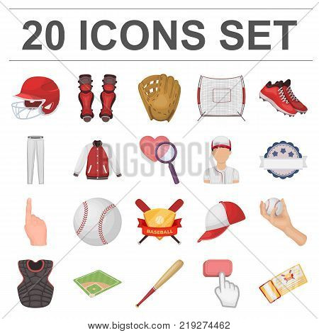 Baseball and attributes cartoon icons in set collection for design.Baseball player and equipment vector symbol stock  illustration.