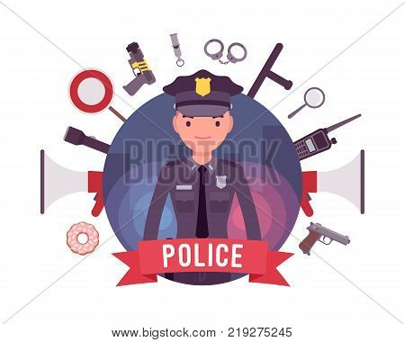 Policeman and weapons poster. Young member of a police force in uniform, equipment, body armor, gear for duty patrol, enforcement accessories. Law and justice. Vector flat style cartoon illustration