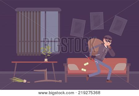 Thief housebreaker in a room. Male masked burglar breaks into dark flat, enters a house to steal things and property, taking things and carrying away sack. Vector flat style cartoon illustration