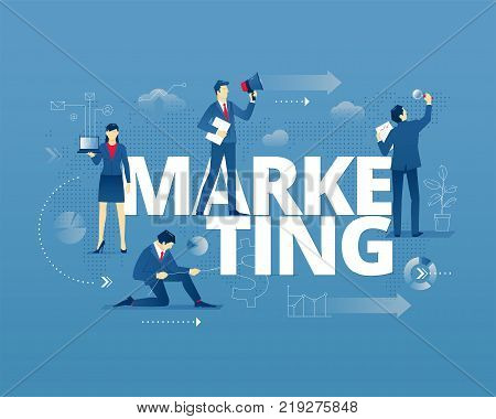 Business metaphor of marketing and product promotion. Businessman and businesswoman faceless characters in action around word MARKETING over digital world map. Vector illustration isolated on blue background