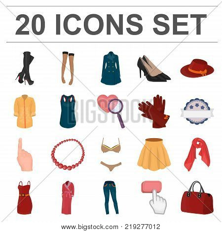 Women's Clothing cartoon icons in set collection for design.Clothing Varieties and Accessories vector symbol stock  illustration.