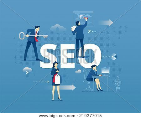 Business metaphor of of search engine optimisation. Businessman and businesswoman faceless characters in action around abbreviature SEO over digital world map. Vector illustration isolated on blue background