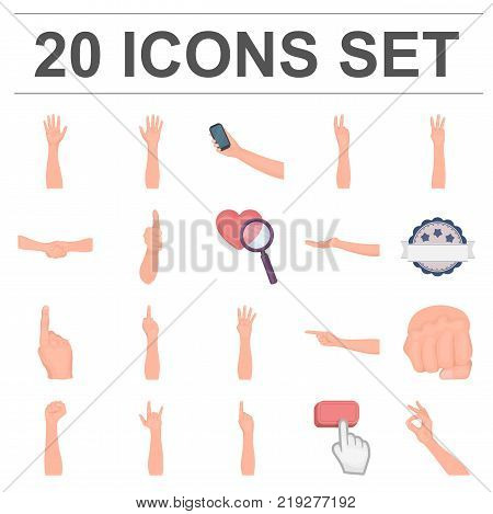 Gestures and their meaning cartoon icons in set collection for design.Emotional part of communication vector symbol stock  illustration.