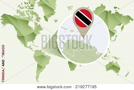 Infographic for Trinidad and Tobago detailed map of Trinidad and Tobago with flag. Vector Info graphic green map.