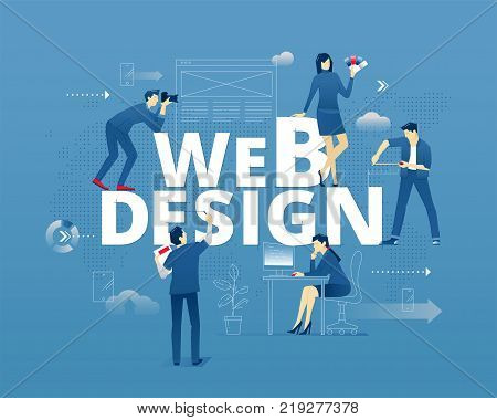 Visual metaphor of web design and web designers. Yuong creative people faceless characters in action around words WEB DESIGN over digital world map. Vector illustration isolated on blue background