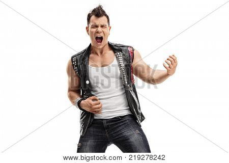 Punk rocker playing air guitar isolated on white background
