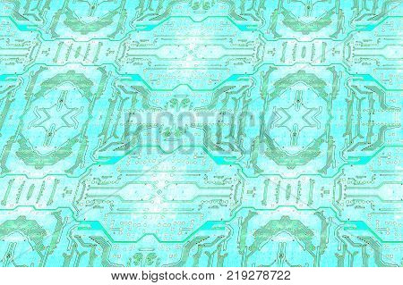 Blue Circuit board texture pattern as technology background.Digitally altered image.