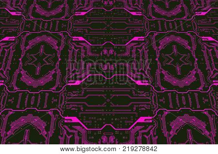 Purple color circuit board suitable as technology background.Digitally altered image.