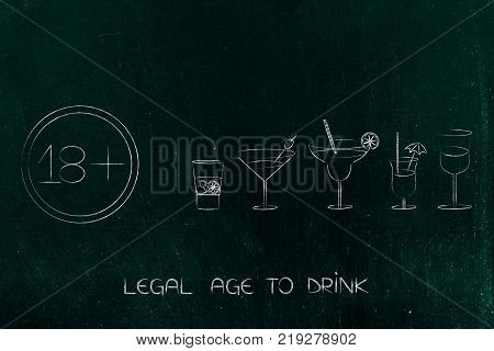 legal age to drink concept: cocktails next to sign with 18 as minimum age number