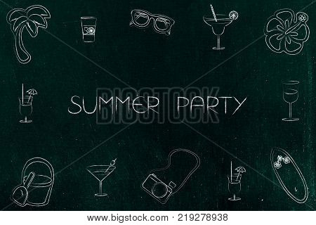 summer party concept: text surrounded by holiday and fun-related icons