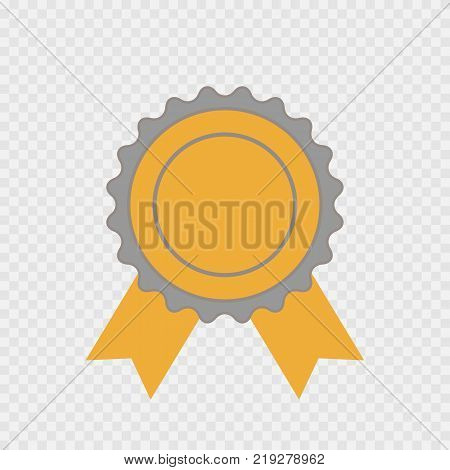 Award icon isolated. Vector infographic sign for the First Place Best Winner. Circle symbol with ribbon on transparent background. Label illustration for web design awarding decoration