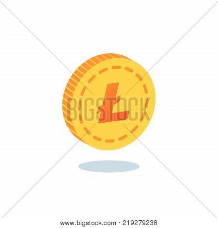 Litecoin Coin Gold Coin Vector. Coin payments on blockchain technology vector, icon, sign for print and web.