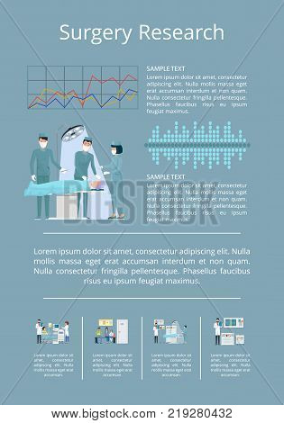 Surgery research poster with doctor conducting surgery on operating table of modern hospital. Vector illustration with medical data on dark background