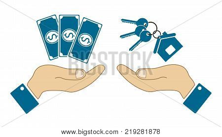 icons in the form of dollar bill and keys with human hands isolated