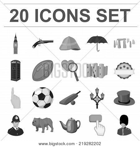 England country monochrome icons in set collection for design.Travel and attractions vector symbol stock  illustration.
