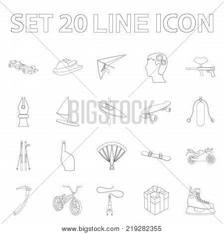 Extreme sport outline icons in set collection for design.Different kinds of sports vector symbol stock  illustration.