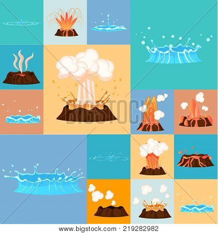 Concept of active volcano and blue geyser in action. Splash of hot lava, flowing magma, discarded steam under pressure. Powerful aqua fountain from hot spring. Vector illustration in cartoon style.