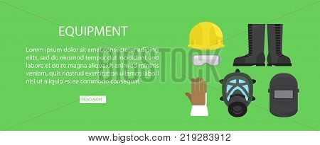 Equipment advertising web banner vector illustration. Helmet and protective eyegasses, waterproof boots and fireproof gloves, face mask and headgear