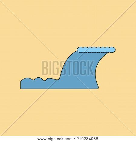 flat icon on stylish background disaster tsunami