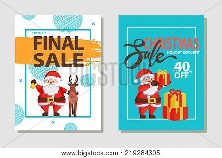 Final Christmas sale, holiday discount headlines and Santa Claus in traditional costume with presents and gift boxes, deer animal isolated on vector