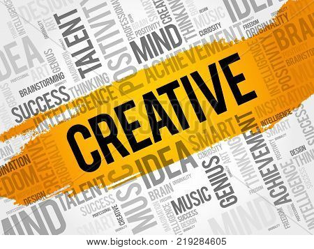 Creative word cloud collage creative business concept background