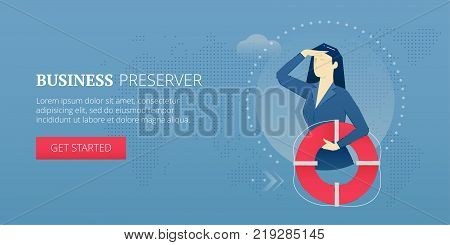 Business woman holding a life preserver and looking forward with the hand on forehead. Vector illustration of company rescue mission. Banner template of business metaphor
