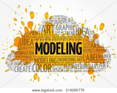 MODELING word cloud creative business concept background