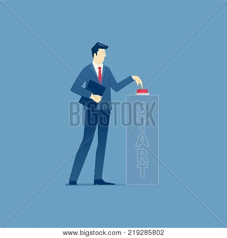 Businessman pushing a red start button and launching a business startup. Vector illustration of a project launch. Isolated on blue background