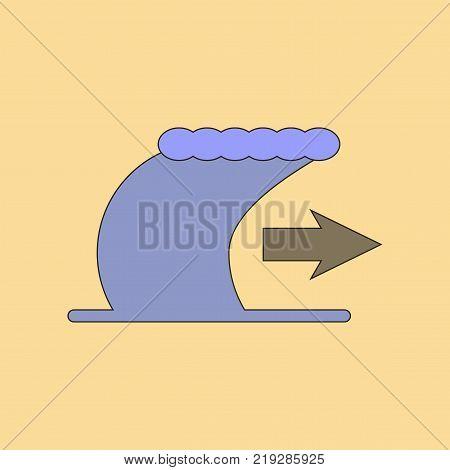 flat icon on stylish background tsunami movement