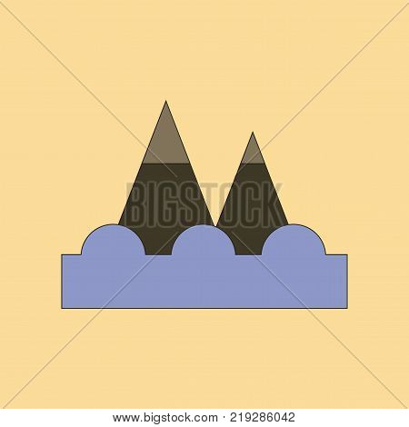 flat icon on stylish background tsunami mountains