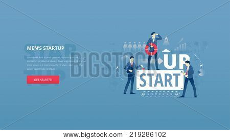 Vector illustrative hero banner of men's business startup. Project launch hero website header with young men characters around word 'STARTUP' over digital world map