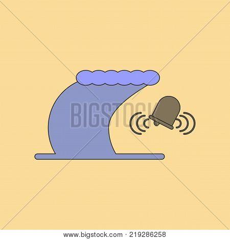 flat icon on stylish background tsunami alarming bell