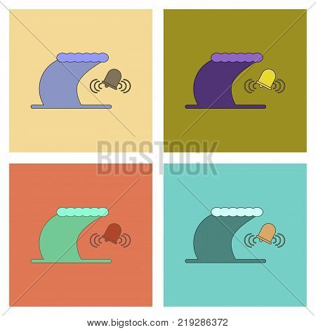 assembly of flat icons tsunami alarming bell