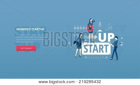 Vector illustrative hero banner of women's business startup. Project launch hero website header with young women characters around word 'STARTUP' together over digital world map