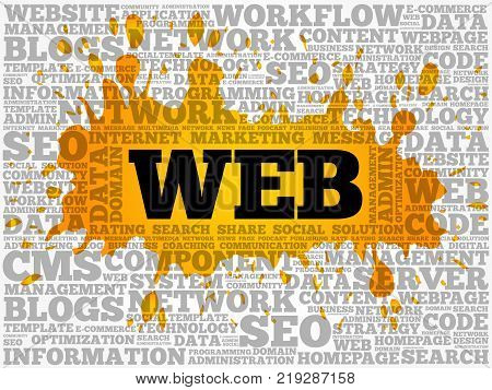 WEB word cloud collage technology business concept background