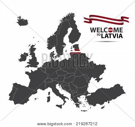 Vector illustration of a map of Europe with the state of Latvia in the appearance of the Latvian flag and Latvian ribbon isolated on a white background