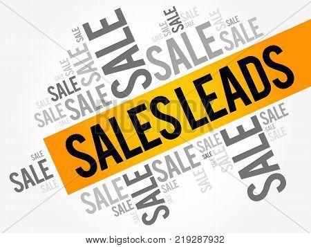 Sales Leads words cloud business concept background