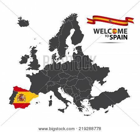 Vector illustration of a map of Europe with the state of Spain in the appearance of the Spanish flag and Spanish ribbon isolated on a white background