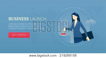 Business woman pushing a red start button and launching a business startup. Vector illustration of project launch. Banner template of business metaphor
