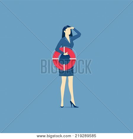 Business woman holding a life preserver and looking forward with the hand on forehead. Vector illustration of company rescue mission. Isolated on blue background