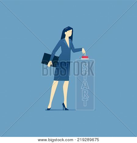 Business woman pushing a red start button and launching a business startup. Vector illustration of project launch. Isolated on blue background