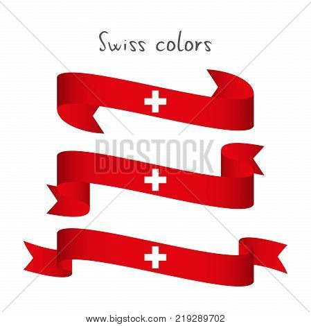 Set of three modern colored vector ribbon with the Swiss colors isolated on white background abstract Swiss flag Made in Switzerland logo