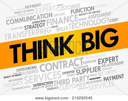 Think Big word cloud business concept background