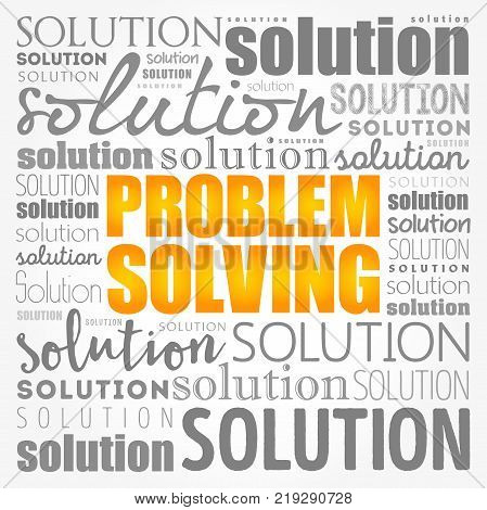 Problem solving aid word cloud collage business concept background