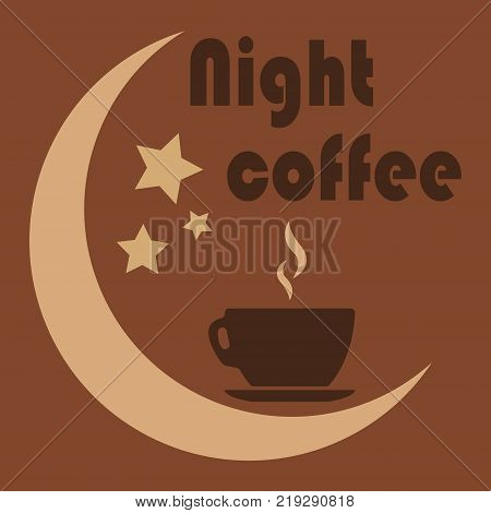Close up of coffee cup With the moon and the stars on white background. concept-night coffee. Work late. fatigue.Vector ilustration.Eps 10.